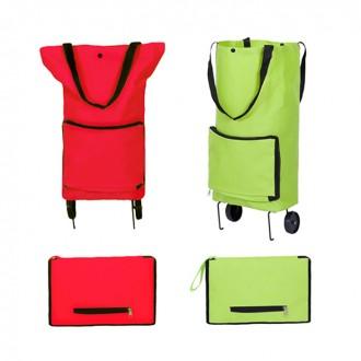 핸드카트 접어쓰는 바퀴달린 장바구니 형광/레드