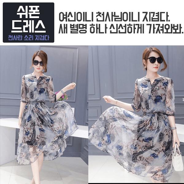 [CESS] DN718 여성용 쉬폰 드레스 - 그레이프린팅