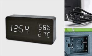 월드온 원목스타일 D타입 시계 LED시계 소리반응시계