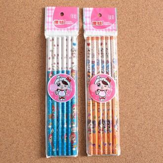 6p 팬시 HB 연필(17.5cm)/문구류
