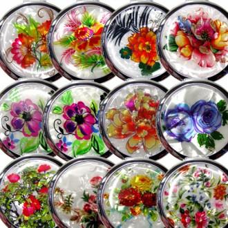 손거울/거울-K1.손거울(대)-원꽃(흰)+케이스