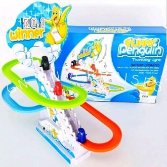 펭귄 계단 미끄럼틀 장난감 / LED 음악 레이스 어린이 아이 선물 추천 가성비