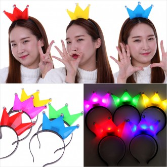 LED왕관머리띠 파티용품 램프 왕관 응원 도구 생일
