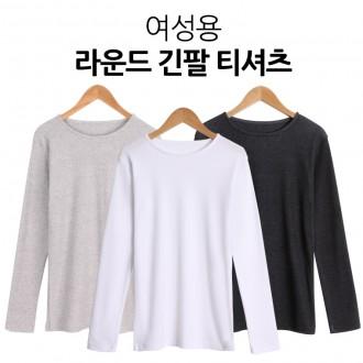 [샵앤] 여성용 라운드 긴팔 기본 티셔츠 국내생산