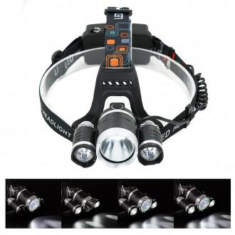 3구 3000루멘 충전식 LED 헤드랜턴 등산 낚시 랜턴 T6