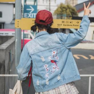 J004 청자켓/데님/자수 자켓/점퍼