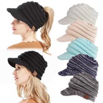 포니테일니트챙모자 가을 겨울 여성 비니 벙거지 모자