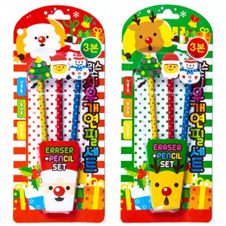 1500크리스마스지우개연필세트(3본)/도매/문구/완구/