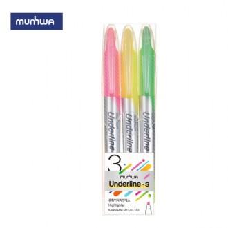 문화 언더라인 에스 3색 형광펜 세트 학용품 필기구