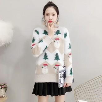 [히트패션]TOP444 크리스마스 트리눈사람 루즈 스웨터