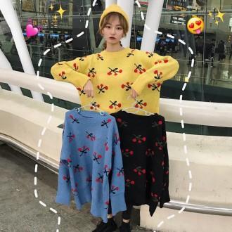 [히트패션] TOP 447 오버핏 도톰 달콤한 체리 스웨터