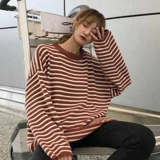 [히트패션] TOP 448 오버핏 도톰 스트라이프 스웨터