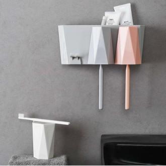 북유럽 거꾸로 위생 칫솔 컵 벽걸이 핑크그레이