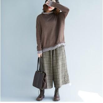 G77881/루즈핏 넥 손목 이중덧댐 라운드니트/스웨터