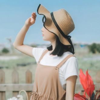 여름 리본 밀짚모자 왕골모자