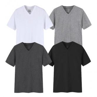로드스타 남녀공용 28수 V넥 무지티셔츠
