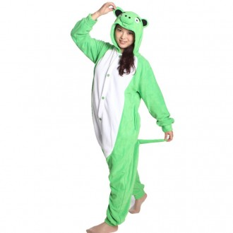 [히트패션] PJ 097 귀여운 그린 피그 동물잠옷커플S-X
