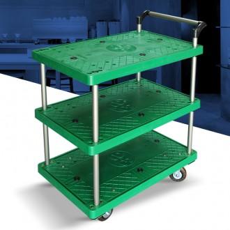 P대차 3단 중 플라스틱 서빙카트 운반대 다용도 이동
