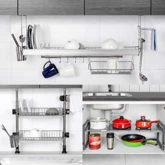 H-주방 스텐 식기건조대 설거지 컵 그릇 싱크대 선반
