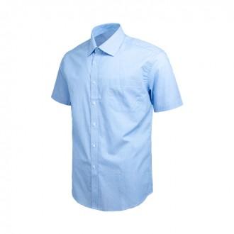 미니 스퀘어 패턴 블루 레귤러 반팔 셔츠 DW37-18
