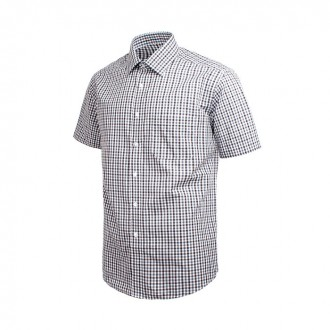 베이직 체크 브라운 레귤러 반팔 셔츠 DW38-8