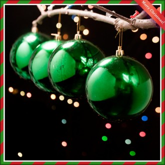 [N]10cm 크리스마스 그린 유광볼(6개) 트리장식