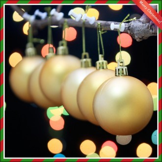 [N]크리스마스 골드 무광볼 6개 장식세트 6cm