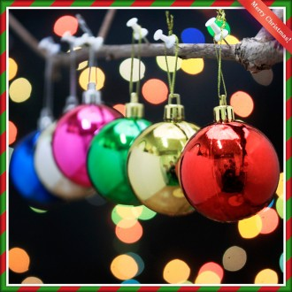 [N]6cm 크리스마스장식 유광볼(혼합칼라 6cm)