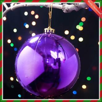 [N]14cm 크리스마스 바이올렛 유광볼 트리장식