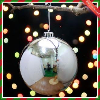[N]크리스마스 대형 트리 장식 실버 유광볼 14cm