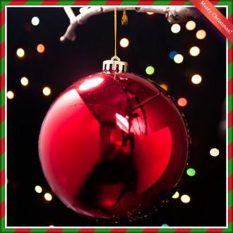 [N]지름 14cm 크리스마스 레드 유광볼 트리장식