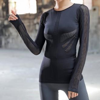 슬림바디 메쉬라인 긴팔 티셔츠(블랙) (L)