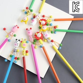 [N]나무인형 원목 연필/어린이선물 캐릭터연필 팬시연