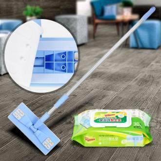 청소밀대+청소포리필 30P 물걸레 일회용 청소물티슈