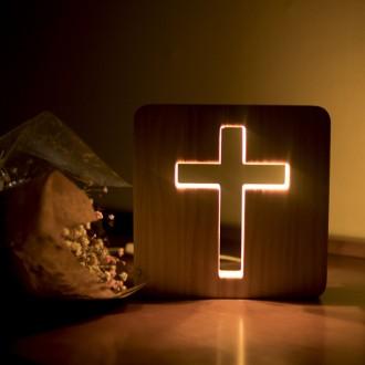 은은한LED 원목 십자가 USB 무드등(19.5cm)