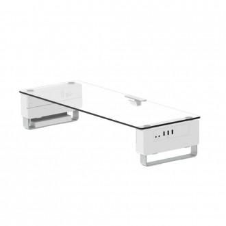 모니터받침대 높이조절 USB포트 강화유리