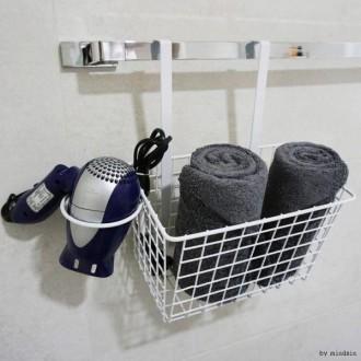 S77 탈부착 문걸이 바구니 수납 철제선반 걸이형 욕실 주방 거실