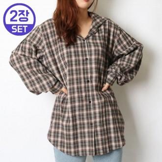 1+1 루즈핏 타탄 체크 셔츠 남방 20Z113O 빅사이즈 여성