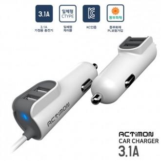 충전기/차량용품/시거잭/시가잭/액티몬 차량용충전기 2port 일체형/USB 3.1A - C