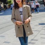 여성 체크 봄 자켓 야상 여자 가을 정장 잠바 코트 트렌치코트 오피스룩