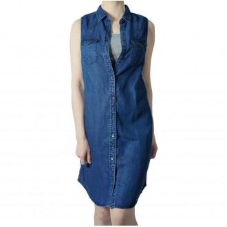 청이 레귤러 핏 텐셀 샴브레이 여성 데일리 트윈 포켓 데님 슬리브리스 드레스
