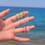 얇은 파스텔 호마이카 마블링 반지세트 5pcs