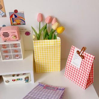 페이퍼백 체크무늬 15cm x 23cm x 8cm 선물 종이포장봉투 디자인 도매 매장 가게