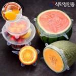 남은음식 보관용 완벽밀봉 실리콘 요술뚜껑 6종세트 실리콘 뚜껑 커버 덮개
