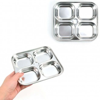 어린이 스텐 반찬그릇 반찬접시 앞접시 정사각 4구 17x15x2.3cm 1p