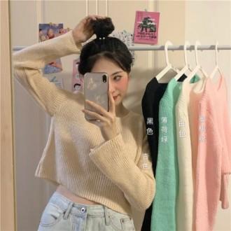 여자 크루넥 골지 니트 가오리핏 긴팔 크롭 티셔츠 WG1780