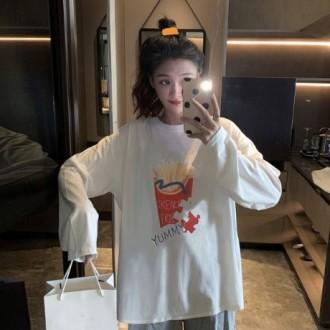 여자 가을 베이직 박스핏 캐릭터 긴팔 오버핏 티셔츠 WG1111