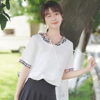 여성 후드티 루즈핏 반팔티 후드 티셔츠 WU1630