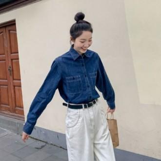여자 데님셔츠 청남방 빈티지 찐청 캐주얼 패션 WD1551