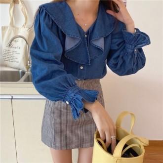 여자 데님셔츠 청남방 찐청 프릴 패션 나팔소매 WD1566